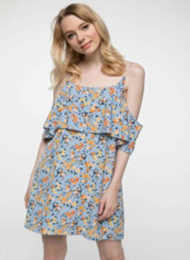DeFacto Kat Volan Detaylı Çiçek Desenli Askılı Elbise Mavi